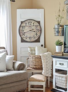 Vintage French Soul ~ Farmhouse style decor in living room. Old door with basket and cozy blankets. Country Farmhouse Decor, Farmhouse Style Decorating, Rustic Decor, Farmhouse Door, Farmhouse Ideas, Farmhouse Table, Old Door Decor, Front Room Decor, Wall Decor