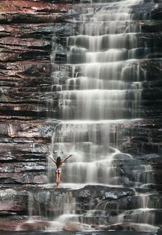 Poço Azul. Waterfall near the Chapada das Mesas. National Park, Brazil