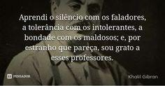 Aprendi o silêncio com os faladores, a tolerância com os intolerantes, a bondade com os maldosos; e, por estranho que pareça, sou grato a esses professores.... Frase de Khalil Gibran.