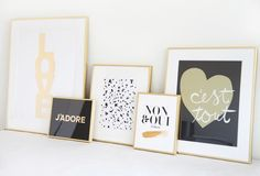 MadeByGirl: black, white and gold art prints