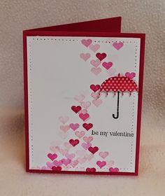Stampin up Rain or Shine card - raining hearts - bjl