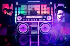 High quality Giant Ghetto Blaster Prop With Lights - Black available to hire. View Giant Ghetto Blaster Prop With Lights - Black details, dimensions and images. Party Props, Party Themes, Theme Ideas, Dj Stand, 80s Birthday Parties, Disco Party Decorations, Ibiza Party, Dance Floor Wedding, 80s Theme