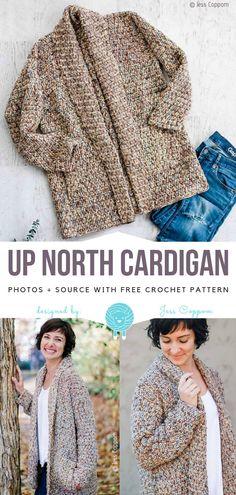 Easy Crochet Patterns Up North Cardigan Kostenlose Häkelanleitung Crochet Gratis, Crochet Wool, Crochet Shirt, Crochet Jacket, Easy Crochet, Free Crochet, Crochet Sweaters, Crochet Socks, Knit Cardigan Pattern