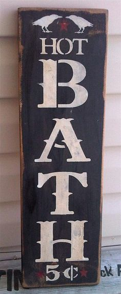 BATH folk art and primitive distressed sign for home with CROWS RAVENS. $18.00, via Etsy.