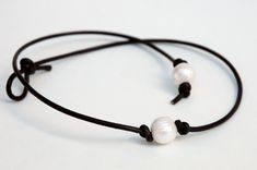 Leather Pearl Choker, Pearl Leather Necklace, White Freshwater pearl, June Birthday, Leather Pearl necklace on Etsy, $18.00
