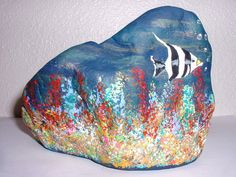 Angel Fish Painted Rock Collectible by reallyrocks on Etsy, $15.00