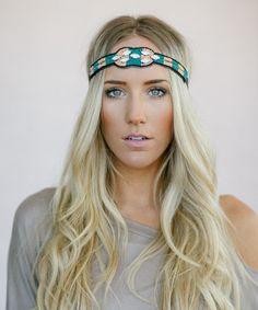 Look at this #zulilyfind! Green & Peach Geometric Indian Bead Headband #zulilyfinds