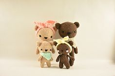 The Bear Family crochet pattern includes a detailed photo tutorial on how to crochet these adorable bears and their accessories. You will need to know basic amigurumi and crochet skills such as: an invisible single crochet decrease, making a magic circle and crocheting in the round. I also have included two different photo tutorials for their noses (a triangle nose or a round nose) for each size bear.