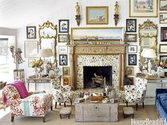 """Reupholster Furniture with Old Curtains - """"Everything in this room has a story,"""" designer Podge Bune says of her Hamptons cottage's living room. """"The easy chair is covered in my old dining room curtains, a Designers Guild fabric they no longer make. Retro Home Decor, Easy Home Decor, Cheap Home Decor, Vintage Decor, World Of Interiors, Cottage Living Rooms, Living Spaces, Home Interior, Interior Decorating"""