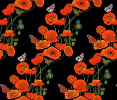 ORANGE_Poppies_on_Black fabric by art_on_fabric on Spoonflower - custom fabric