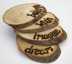 Inspirational Wooden Coaster Set - Wood Tree Slice Wooden Table Decorative Wood Burned on Etsy, $32.00