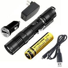 Nitecore MH12 Rechargeable XML2 U2 Flashlight 1000Lm wUSB Cable Wall  Car Adaptor  FREE Battery * You can get more details by clicking on the image.