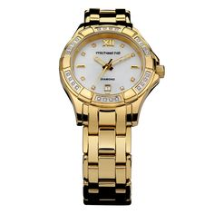 Gold tone stainless steel case and bracelet, diamond set mother of pearl dial, mineral crystal, Swiss movement. Water resistant up to 21st Gifts, Luxury Watches For Men, Watches Online, Stainless Steel Case, Other Accessories, Bracelet Watch, Pearls, Silver, Gold