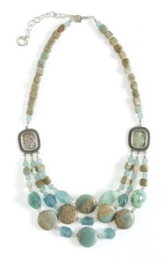 'Triple-Strand Necklace with Aquamarine, Chalcedony and Jasper Gemstone Beads'