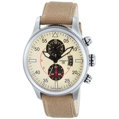 aa91aae1ae9 Torgoen Swiss Men s Quartz Watch with Beige Dial Chronograph Display and  Beige Nylon Strap T33402 Time