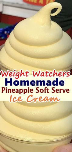 here is a weight watchers ice from the iconic dole whip ice cream from Disney. here is a weight watchers ice from the iconic dole whip ice cream from Disney. Skinny Recipes, Ww Recipes, Cream Recipes, Cooking Recipes, Recipies, Lunch Recipes, Waffle Recipes, Burger Recipes, Recipes Dinner