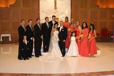 Formal portrait of wedding party in the sanctuary after the ceremony