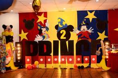 More of styro stage backdrop wtih letter na,e standee Mickey Mouse Birthday, Baby Birthday, Minnie Mouse, Birthday Parties, Kid Parties, Birthday Ideas, Birthday Cake, Wedding Table Setup, Wedding Stage Decorations