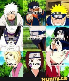 A hopeless fool, the skilled protege, and a clever kunoichi, text, quote, Team Minato, Team Hiruzen, Team 7, Jiraiya, Orochimaru, Tsunade, Obito, Kakashi, Rin, Naruto, Sasuke, Sakura; Naruto