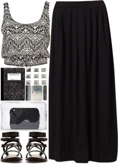 black maxi, cropped tank, accessories. Love that top!