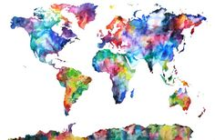 Artwork I chose for my son's nursery, looks beautiful on the gray wall. 24x36 Large Watercolor Map Print World Map by AudreyDeFord on Etsy