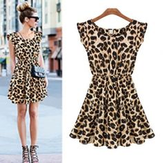 Fashion Women's Sleeveless Printed Leopard Dress_Dresses_Womens Clothing_Cheap Clothes,Cheap Shoes Online,Wholesale Shoes,Clothing On lovelywholesale.com - LovelyWholesale.com