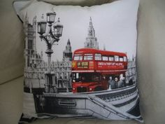 White Black & Red LONDON Routemaster Bus Pillow by annier50, £16.00