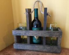 Wood Wine Carrier with glasses by UrbanMoonDecor on Etsy