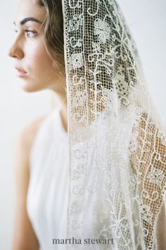A lace veil is as classic as it gets. If you want to embrace lace during your walk down the aisle, but don't want to look overtly traditional, consider a crocheted option, like this vintage option. Though the hand-woven fabric connotes Old-World vibes. #weddingideas #wedding #marthstewartwedding #weddingplanning #weddingchecklist Bridal Lace, Bridal Style, Chapel Length Veil, Vintage Veils, Crochet Wedding, Nontraditional Wedding, Blue Wedding Dresses, Bohemian Bride, Wedding Veils