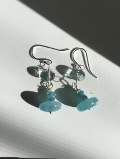 Made to order Moss Aquamarine Angelite Silver Earrings by Lilyb444