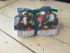 burp cloth set  #birds #wood panel floor #baby layette #cloth diaper