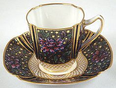 Aesthetic Spode Copeland Demitasse Cup & Saucer Cobalt with Hand Enameled Peonies and Gold Gilding circa late 1800s