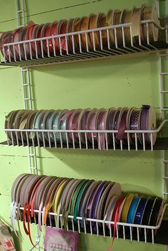 would be nice - wouldn't have to unload the dowel to replace a roll of ribbon.This would be nice - wouldn't have to unload the dowel to replace a roll of ribbon. Ribbon Organization, Ribbon Storage, Sewing Room Organization, Craft Room Storage, Craft Rooms, Paper Storage, Diy Ribbon, Organizing Tips, Storage Ideas