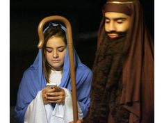 While Joseph stands watch nearby, Mary checks her phone. The Nativity Story, Riverside County, Joseph, Mary, Watch, Phone, The Birth Of Christ, Clock, Bracelet Watch