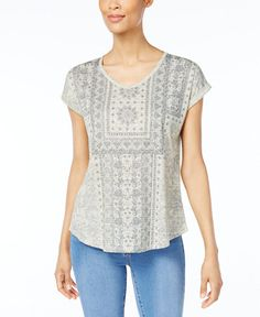Style & Co Printed V-Neck T-Shirt, Created for Macy's