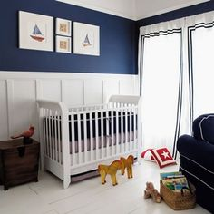red, white & blue - for a boy nursery - love the wall