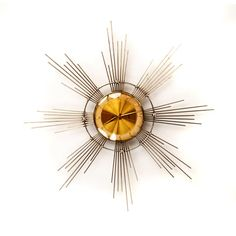 Vintage 1950's Landau Eight Day Windup Silver Mid Century Modern Atomic Starburst Wall Clock Decor