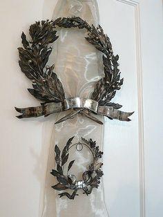 Antique French laurel leaf wreaths.