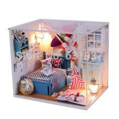 New Ariive Diy Wooden Miniatura Doll House Furniture  Handmade Dollhouse Miniature Puzzle Toys Birthday Gifts-Romantic summer