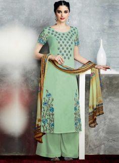 Pista Green Embroidery Work Cotton Satin Print Designer Pakistani Palazzo Suit http://www.angelnx.com/Salwar-Kameez/Pakistani-Suits