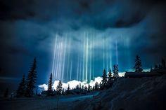 Light Pillars In Nesbyen, Norway