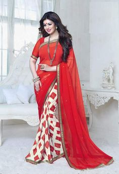 White and Red Color Georgette Sarees : Red-N-White Collection YF-25432