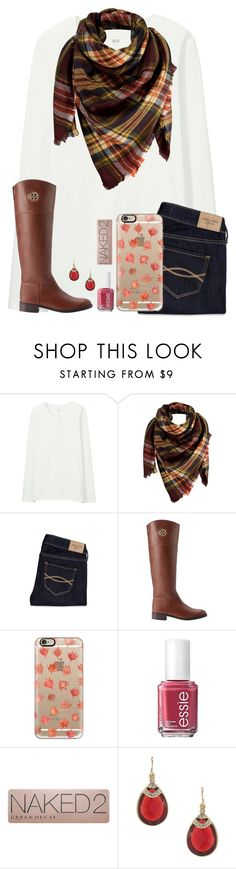 """""""Can we try to get to 2k by Christmas or New Years?"""" by kari-luvs-u-2 ❤ liked on Polyvore featuring Uniqlo, Peach Couture, Abercrombie & Fitch, Tory Burch, Casetify, Essie, Urban Decay and Carolee"""