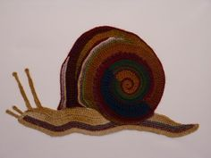 Freeform crocheted Snail by Ann*Benoot, inspired by Zentangle Drawing of power animals. Textile art 'painting' 50x40 cm. The proceeds of the sale of my artwork goes to charity.