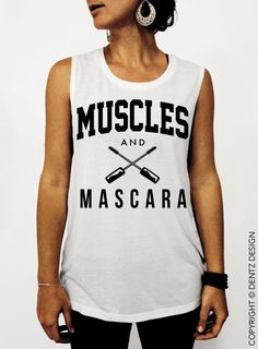 cfe5d2c0cebad1 Details about Muscles and Mascara - White and Black Ink Summer Muscle Tee Tank  Top