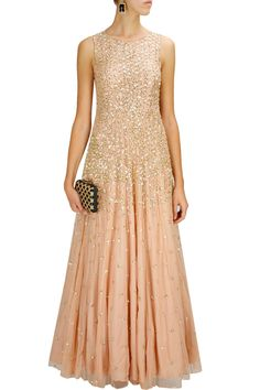 ASTHA NARANG Peach sequins embellished gown
