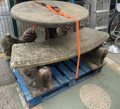 Darling? There are lions in the back garden! Imposing garden set consisting of circular pedestal table 3ft diameter with 4ft 6in curved bench seat on two crouching lions (also two matching crouching lions) - all in concrete. Curved Bench, Bench Seat, Back Gardens, Pedestal, Lions, Concrete, Auction, Table, Home Decor