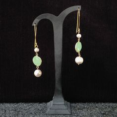 Dangle earrings with freshwater white pearls & goldplated silver framed Chalcedony. Statement, gemstone earrings, handmade, for her,bridal by Menir on Etsy