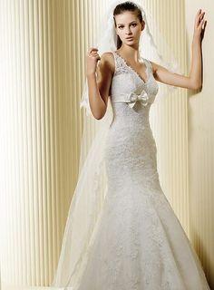 Mermaid Flattering Lace Wedding Dress Knot V Neck Court Train