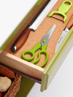 Cork Drawer Liner: Cushion knives, scissors, peelers and other sharp objects. (From #hgtvmagazine) http://www.hgtv.com/kitchens/mission-makeover-diy-kitchen-island/pictures/page-6.html?soc=pinterest